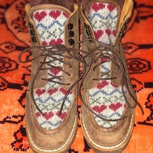 Mosa Rosa Lace Up Boots with Red Hearts